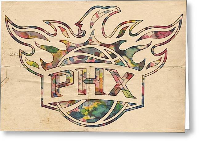 Phoenix Posters Greeting Cards - Phoenix Suns Logo Art Greeting Card by Florian Rodarte