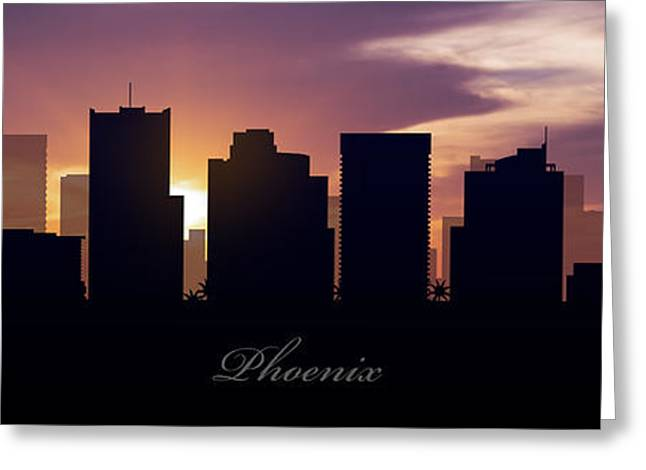 Phoenix Architecture Greeting Cards - Phoenix Sunset Greeting Card by Aged Pixel