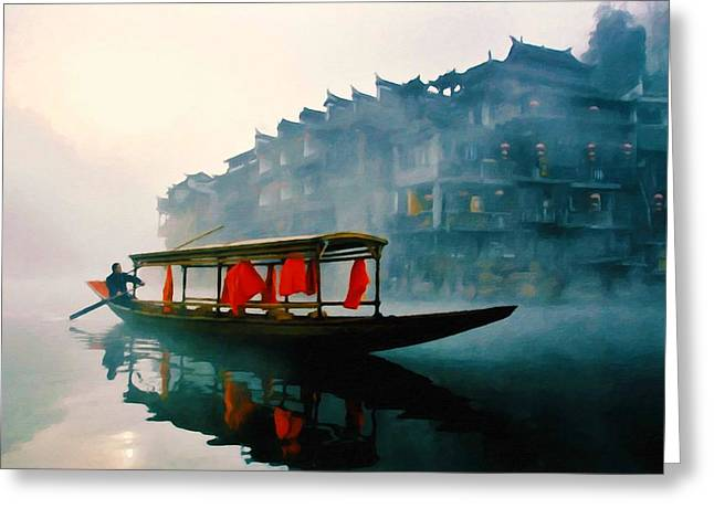Fenghuang Greeting Cards - Phoenix town Greeting Card by Lanjee Chee