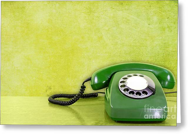 Dialing Greeting Cards - Phone Against Green Wall Background Greeting Card by G J