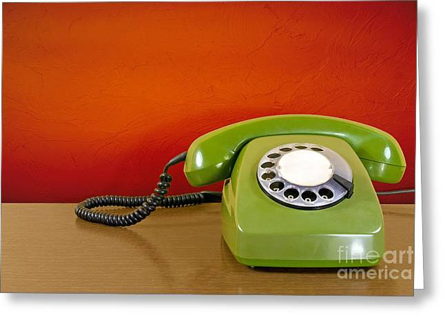 Dialing Greeting Cards - Phone Against Red Wall Background Greeting Card by G J