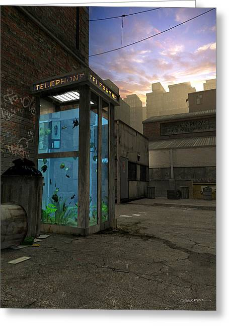Aquarium Fish Digital Greeting Cards - Phone Booth Greeting Card by Cynthia Decker