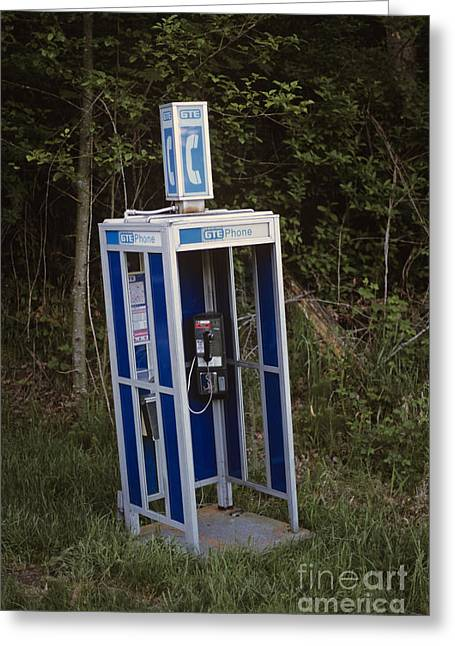 Outmoded Photographs Greeting Cards - Phone booth dismantled Greeting Card by Jim Corwin