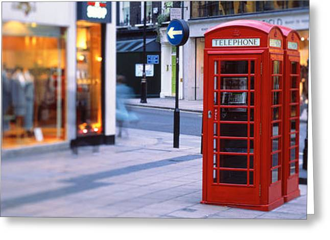 Telephone Booth Greeting Cards - Phone Booth, London, England, United Greeting Card by Panoramic Images