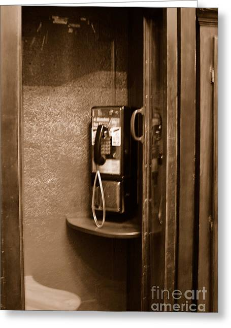St Francis Hotel Greeting Cards - Phone Booth Greeting Card by Ruth Ann Behlmann