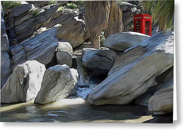 Stream Greeting Cards - Phone Booth Greeting Card by Snake Jagger