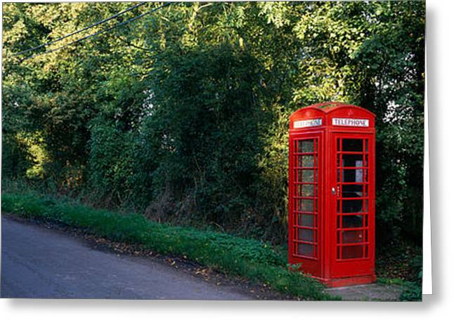 Tree Lines Greeting Cards - Phone Booth, Worcestershire, England Greeting Card by Panoramic Images