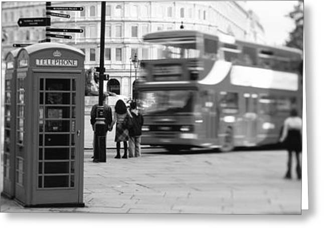 Double Decker Greeting Cards - Phone Box, Trafalgar Square Afternoon Greeting Card by Panoramic Images
