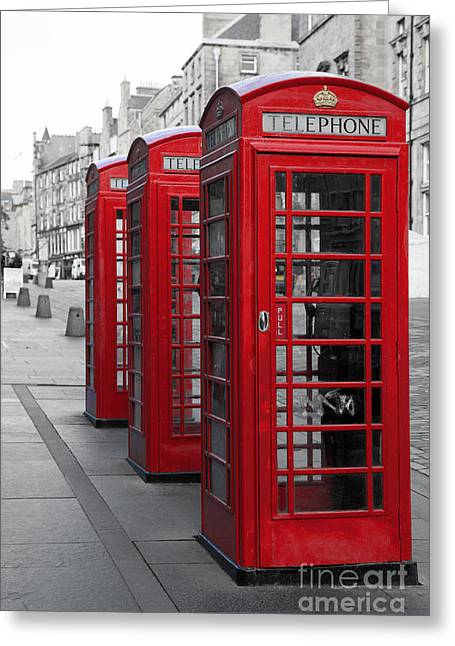 Old Cabins Photographs Greeting Cards - Phone boxes on the Royal Mile Greeting Card by Jane Rix