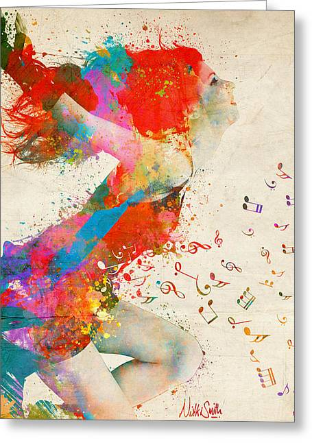 Song Writer Greeting Cards - Phone Case Sweet Jenny Bursting with Music Greeting Card by Nikki Marie Smith