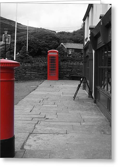Pillar Box Greeting Cards - Phone Pillar Box Greeting Card by David Jones