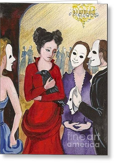 Phonies And Their Masks Greeting Card by Margaryta Yermolayeva
