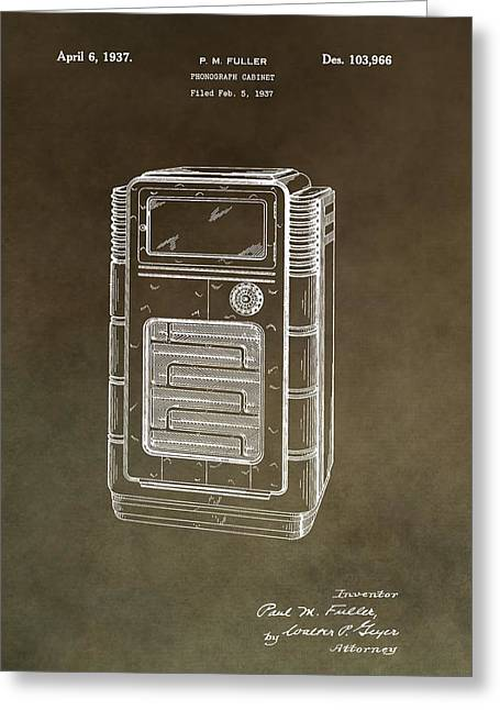 Noise . Sounds Mixed Media Greeting Cards - Phonograph Cabinet Patent Greeting Card by Dan Sproul