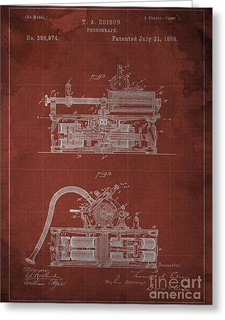 Edison Greeting Cards - Phonograph Edison Patent Blueprint 2 Greeting Card by Pablo Franchi