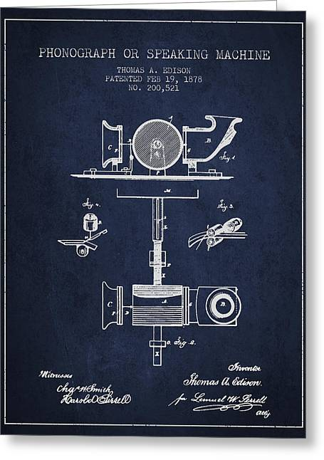 Thomas Digital Greeting Cards - Phonograph or speaking machine patent Drawing from 1878 Greeting Card by Aged Pixel