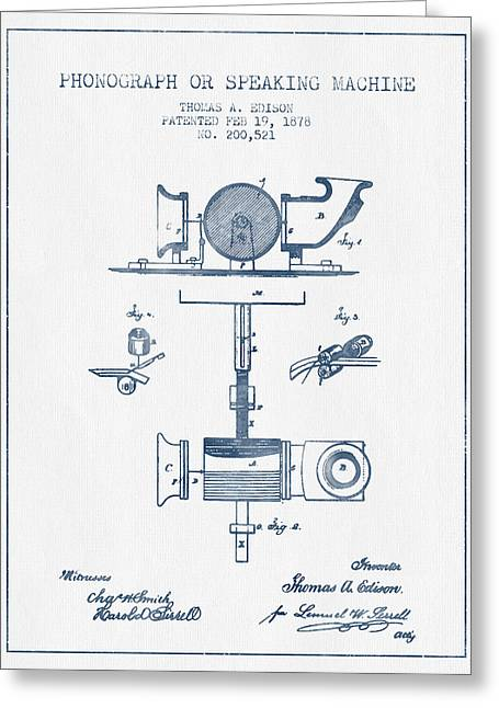 Edison Greeting Cards - Phonograph or speaking machine patent Drawing from 1878- Blue In Greeting Card by Aged Pixel