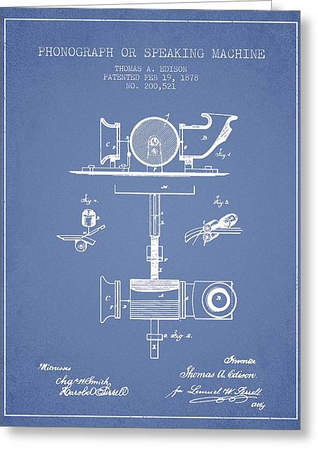 Edison Greeting Cards - Phonograph or speaking machine patent Drawing from 1878 - Light  Greeting Card by Aged Pixel