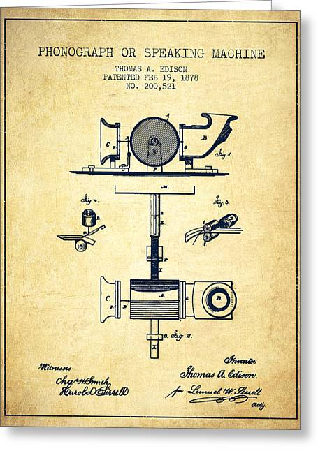 Edison Greeting Cards - Phonograph or speaking machine patent Drawing from 1878 - Vintag Greeting Card by Aged Pixel