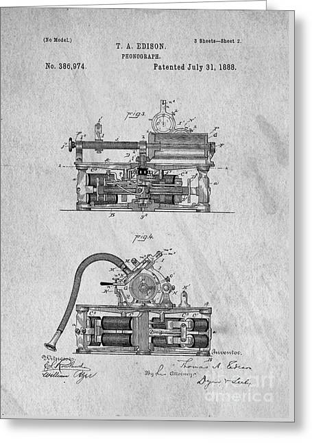 Phonograph Greeting Cards - Phonograph Patent 1888 Thomas Edison Greeting Card by Edward Fielding