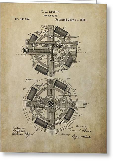 Thomas Mixed Media Greeting Cards - Phonograph Patent Drawing Greeting Card by Dan Sproul