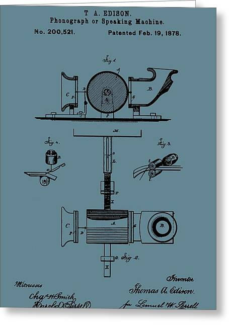 Phonograph Patent On Blue Greeting Card by Dan Sproul