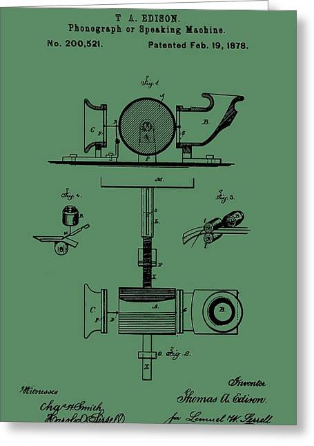 Thomas Alva Edison Greeting Cards - Phonograph Patent On Green Greeting Card by Dan Sproul