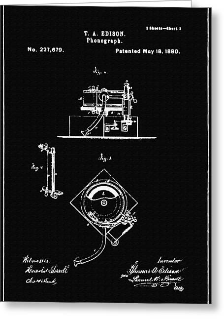 Edison Greeting Cards - Phonograph Support Patent Drawing From 1880 2 Greeting Card by Samir Hanusa