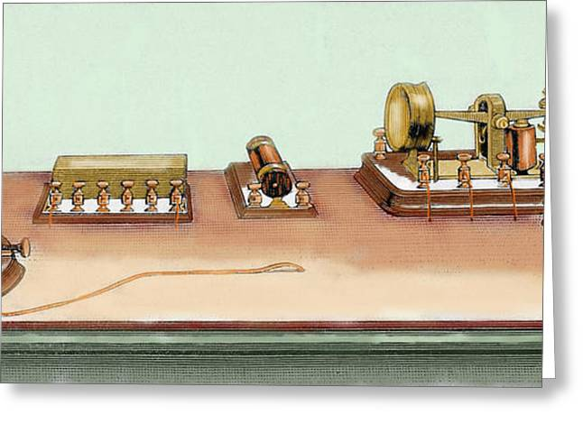 Phonoplex Telegraph Invented By Thomas Greeting Card by Prisma Archivo