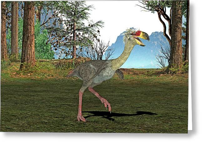 Phorusrhacos Prehistoric Bird Greeting Card by Friedrich Saurer