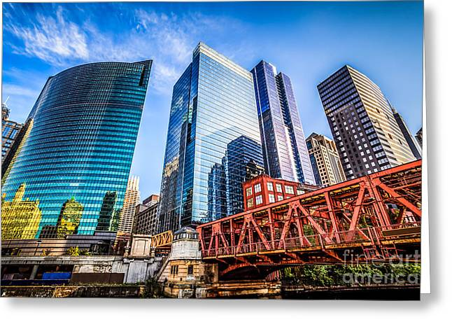 Photo Of Chicago Buildings At Lake Street Bridge Greeting Card by Paul Velgos