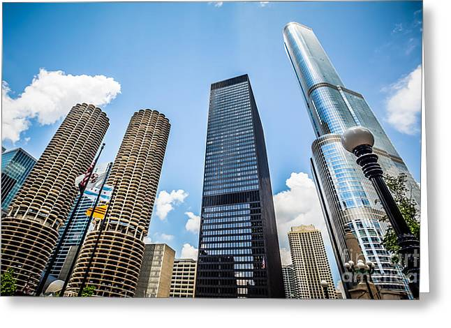 Trump Hotel Greeting Cards - Photo of Chicago Skyscrapers Greeting Card by Paul Velgos