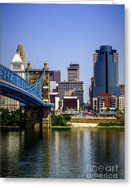 Pnc Greeting Cards - Photo of Cincinnati Buildings and Roebling Bridge Greeting Card by Paul Velgos