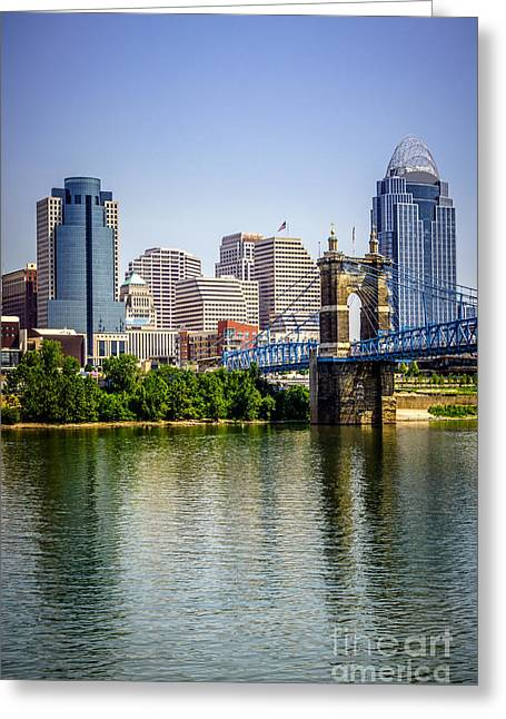 Riverfront Greeting Cards - Photo of Cincinnati Skyline and Roebling Bridge Greeting Card by Paul Velgos