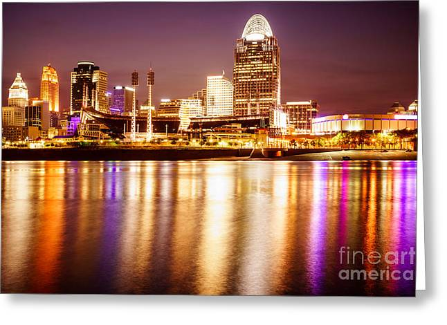 Photo Of Cincinnati Skyline At Night Greeting Card by Paul Velgos