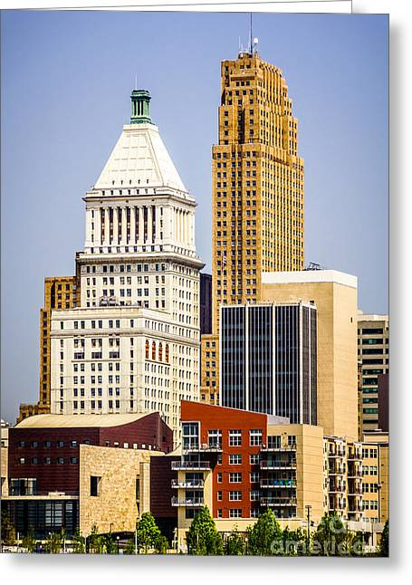 Pnc Greeting Cards - Photo of Downtown Cincinnati Buildings Greeting Card by Paul Velgos
