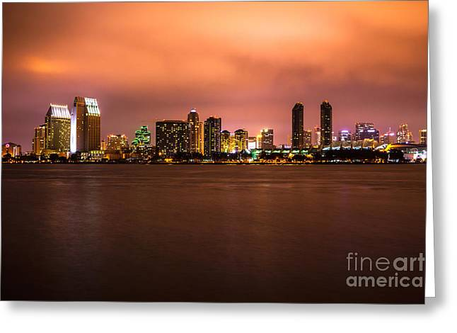 Western Usa Greeting Cards - Photo of San Diego at Night Greeting Card by Paul Velgos