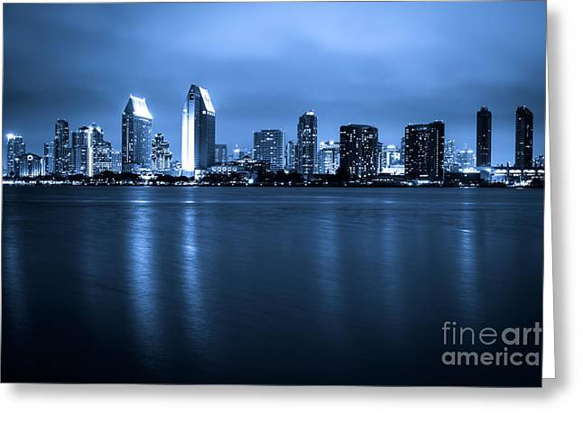 Western Usa Greeting Cards - Photo of San Diego at Night Skyline Buildings Greeting Card by Paul Velgos
