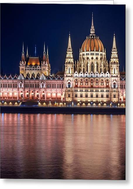 Historical Buildings Pyrography Greeting Cards - Photo of the hungarian parlament Greeting Card by Oliver Sved