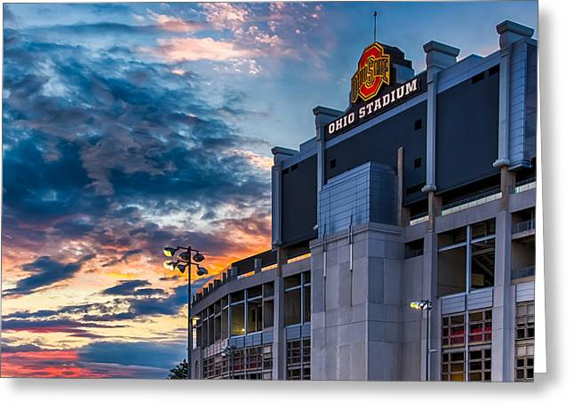 Dave Gordon Greeting Cards - Photo Ohio State Buckeyes at Sunset in Colulmbus Ohio Greeting Card by Dave Gordon