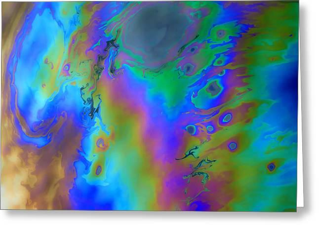 Oil Slick Greeting Cards - Liquid Rainbow Greeting Card by Joel Zimmerman