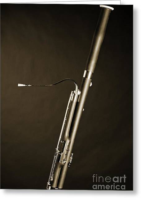 Bassoon Music Instrument Fine Art Prints Canvas Prints Greeting Cards In Sepia 3408.01 Greeting Card by M K  Miller