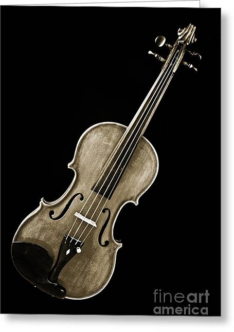Still Life Photographs Greeting Cards - Photograph of a Complete Viola Violin in Sepia 3368.01 Greeting Card by M K  Miller