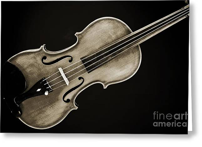 Still Life Photographs Greeting Cards - Photograph of a complete Viola Violin in Sepia 3370.01 Greeting Card by M K  Miller