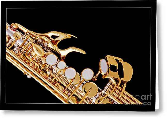 Soprano Greeting Cards - Photograph of a Soprano Saxophone in Color 3342.02 Greeting Card by M K  Miller