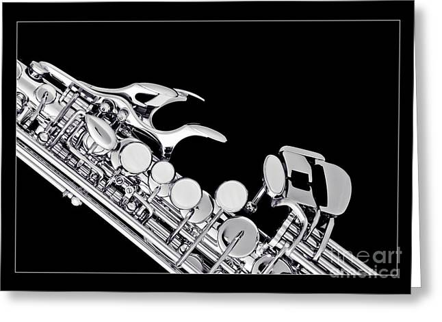 Soprano Greeting Cards - Photograph of a Soprano Saxophone in Sepia 3342.01 Greeting Card by M K  Miller