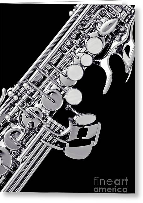 Soprano Greeting Cards - Photograph of a Soprano Saxophone Sepia 3355.01 Greeting Card by M K  Miller