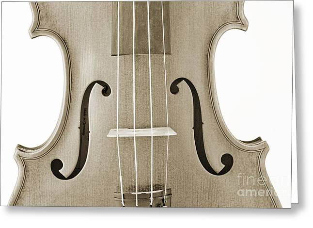 Still Life Photographs Greeting Cards - Photograph of a Viola Violin Middle in Sepia 3374.01 Greeting Card by M K  Miller