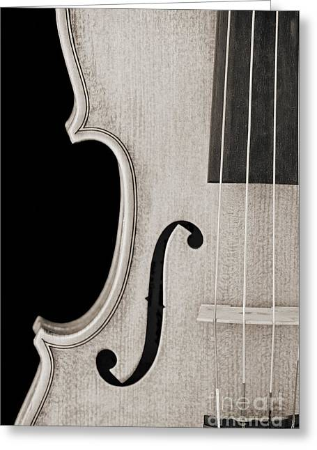 Still Life Photographs Greeting Cards - Photograph of a Viola Violin Side in Sepia 3372.01 Greeting Card by M K  Miller