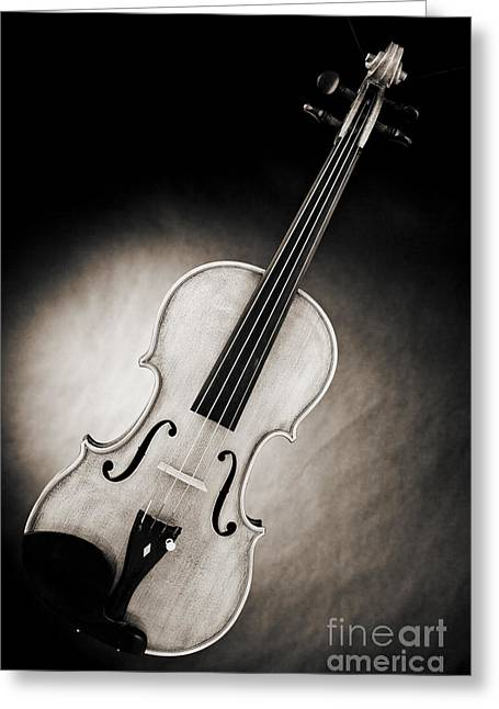 Still Life Photographs Greeting Cards - Photograph of a Viola Violin Spotlight in Sepia 3375.01 Greeting Card by M K  Miller