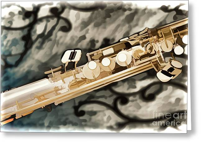 Soprano Greeting Cards - Photograph of Classic Soprano Saxophone painting 3348.02 Greeting Card by M K  Miller